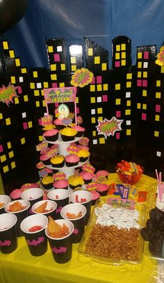 Batgirl birthday party. City escape made from project board.