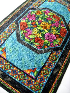 Quilted Table Runner Modern Floral Table Mat Stained by SallyManke, $59.00