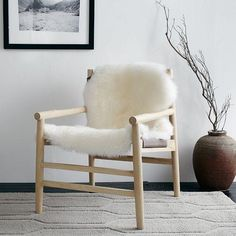 Leather and White Fur Sling Chair