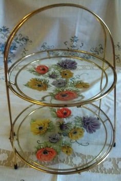 Vintage Chance Glass 2 Tier Cake Stand -