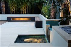 terrace with fire and water