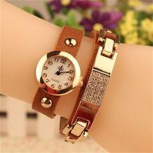 Top moda relógios mulheres liga de ouro caso relógio de senhoras de cristal relógio de quartzo de couro Relogio Feminino relógio Relojes Mujer 2015(China (Mainland))