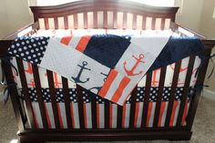 Coral Anchors Navy Dot Coral Stripe and Navy by DesignsbyChristyS