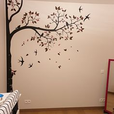 Tree wall decal huge tree wall decals nursery wall decor wall mural kids room wall decoration with cute birds and leaves - 098 Kids Room Murals, Nursery Wall Murals, Tree Wall Murals, Mural Wall Art, Wall Decals, Simple Wall Paintings, Wall Painting Decor, Bedroom Wall Designs, Wall Art Designs