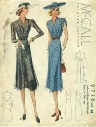 "The 1930s were dominated by the Stock Market Crash 1929 that caused an era of Depression. After the crash, you no longer see the ""flapper"" style dresses from the 20s. Now, the hemline becomes much longer (between knee to floor length) and the natural waistline is back and become strongly emphasized again, often with a belt. This 1930s style embodied somewhat of a 'discreet elegance' representative of the current economic times."