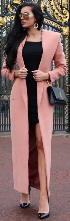 Coat: House Of Cb, dress: H&M, heels: Christian Louboutin, sunglasses: Sama Eyewear, bag: YSL || Laura Badura #coat