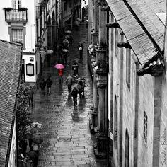 Pink Umbrella - Santiago de Compostela, Spain