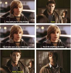 [SET OF GIFS] 1x18 Something Wicked This Way Comes Sam is constantly being reminded how much his big brother cares and feels responsible for him.