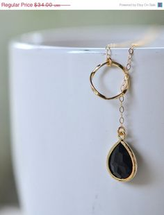 BLACK FRIDAY SALE Black Teadrop and Gold Circle by RusticGem