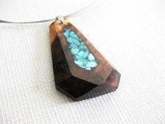 Wood necklace exotic burl wood and turquoise by NikibarsNatureArt