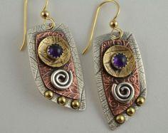 Hoja de cobre pendientes  joyas de orfebrería  artesano
