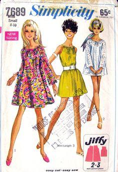 Vintage 60s Mod Tent Dress & Top Pattern Simplicity 7689 Drawstring Neckline- Bust 31 to 33