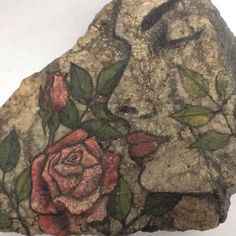 THE ROSE GIRL hand painted rock art for the home or garden