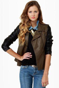 Blank NYC Vegan Leather Jacket - Moto Jacket - Brown Jacket - $102.00