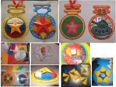 Медали для пап. Первые две медальки делали с детьми 6-7 лет, та что слева (с торцеванием на пластилине) заняла 2 занятия по 45 минут, вторую сделали за одно занятие. Материалы для работы: картон цветной А4, цветная бумага (двусторонняя для принтера), клей Титан, диски компьютерные, пластилин, гофрированная бумага, ножницы, карандаш, перманентный маркер (или для дисков), палочка или стержень для торцевания.