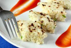 White Dhokla Recipe (Gujarati Idra Recipe): A tasty Gujarati savory baked dish made from rice flour, urud dal flour and curd. Idra or Idada dhokla recipe. Dhokla Recipe, Indian Appetizers, Tasty, Yummy Food, Rice Flour, Indian Food Recipes, Dishes, Chicken, Photos