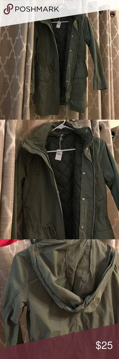 Gap cargo green jacket BRAND NEW Gap jacket with removable vest. Four pockets on the front of the jacket and zipper/button closure. Lightweight. Pull tie to tighten around the middle. GAP Jackets & Coats