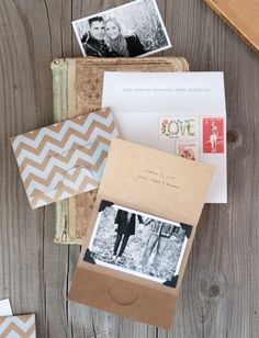 tan + white chevron, b+w photo invites.