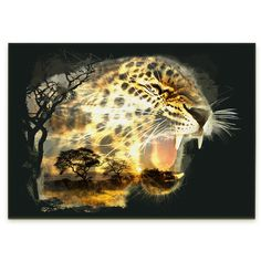 African Leopard Digital Art on Canvas | © Coza Web Design - All Rights Reserved
