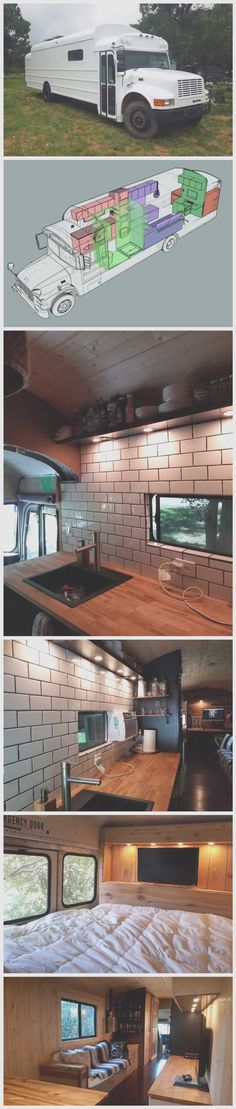 trendy tiny house on wheels bus conversion School Bus Conversion, Camper Conversion, Closet Conversion, Bus Living, Tiny House Living, Living Room, School Bus House, School Buses, Kombi Motorhome