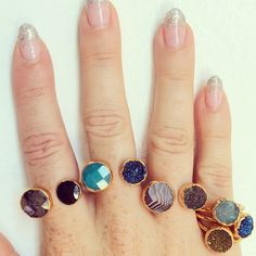 Janna Conner Fall 14 druzy open rings