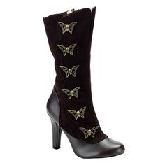 Demonia TESLA-107 Brown Victorian Steampunk Gothic Boots - Demonia Shoes - SinisterSoles.com