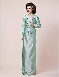 Sheath/ Column Strapless Floor-length Taffeta Mother of the Bride Dress With A Wrap - USD $ 179.99 - Free shipping for all