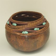 Brown Gourd with PineNeedle Turq Bead Swirl Rim Item by TxWeaver