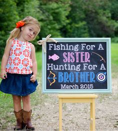 Custom Printable Big Brother Announcement // Pregnancy Reveal // Fishing // Hunting // New Big Brother // Pregnancy Announcement by ChalkingItUpBoards on Etsy https://www.etsy.com/listing/188106254/custom-printable-big-brother