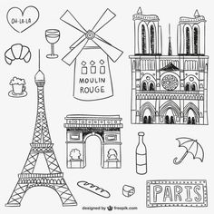 Parisian landmarks and objects Free Vect. Ideas Scrapbooking, Paris Monuments, Moulin Rouge Paris, Travel Doodles, World Thinking Day, Travel Drawing, French Lessons, Teaching French, My Journal