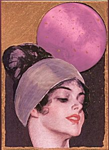 $39 vintage Harrison Fisher image, 5x7 Print is From an original mixed media painting . Midnight Moonlight Collection