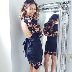 Black Long Sleeves Lace V-neck Short Prom Dress Homecoming Dress Evening Dress,145