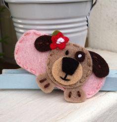 Cute Dog Light Pink Wool Felt Snap Hair Clip by BerryCoolDesigns