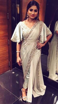 Paired with modern blouse. Embellished with hand embroidery work. Saree Wearing Styles, Saree Styles, Trendy Sarees, Stylish Sarees, Indian Wedding Fashion, Indian Fashion, Bridal Fashion, Women's Fashion, Saree With Pants