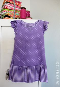 The perfect flutter sleeve baby dress! Comfy and easy to sew. Comes with a free pattern!