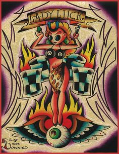 Lady Luck by Ryan Downie Eight Ball Racing Tattoo Canvas Art Print