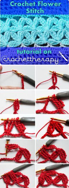Crochet Flower Stitch Tutorial (by Crochettherapy)