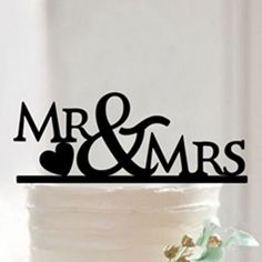 """Cake Topper for Wedding Anniversary Engagement (Mr Mrs /Love Heart Shape) Material: Acrylic - Color: Black Approx. Size: - 6.6"""" x 3.8"""" (16.7cm x 9.6cm) - Style: Letter """"Mr & Mrs"""",Love Heart Shape Cate"""
