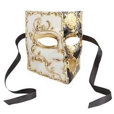 Bauta Italian Masquerade Mask - Black & Gold