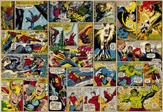 super hero comic wrapping paper | 427 Marvel Comic Heroes