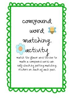 This is an activity that practices compound word knowledge and can be used as a center activity or for extra practice if a student finishes work ea...