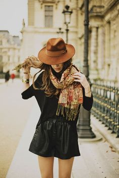I actually have a leather skirt, hat like this and a similar scarf... love the outfit- have to do this outfit one day!