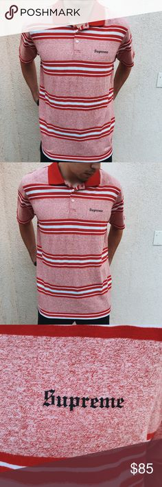 Authentic Supreme Red and White Striped Polo Authentic Supreme Red and White Striped Polo Size: Large Supreme Shirts Polos