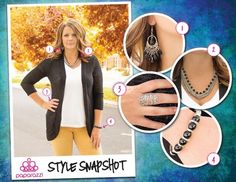 { Style Snapshot } You can never go wrong with black and silver! These popular neutrals add elegance to any outfit which make them excellent options for gifts. This entire set is only $20! 1 - Oh, that is Rich! (Earrings) 2 - Stranded (Necklace) 3 - Air on the Side of Gorgeous (Ring) 4 - It IS My Business (Bracelet) All accessories are only $5! Shop now at www.guiltfreejewelry.com