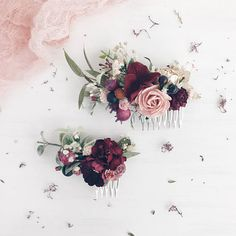 Fall Burgundy floral Hair comb Deep red Bridal hair comb