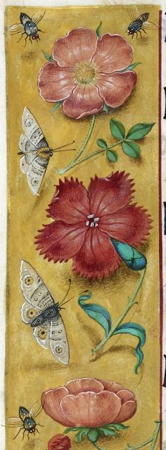 Detail of a border including flowers, moths, and flies, from the Hours of Joanna I of Castile, Netherlands (Ghent?), c. 1500, Additional MS ...