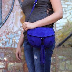 Alice   Cobalt blue suede leather crossbody bag purse, satchel bag, custom women bags, saddle bag, gift for her,mom, best friend, handmade bag, leather crafts