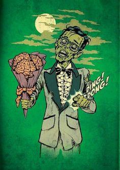 zombie, brain, and black and white image Zombie Prom, Zombie Walk, Zombie Wedding, Arte Horror, Horror Art, Frankenstein, Michael Jordan, Arte Zombie, Zombie Cartoon