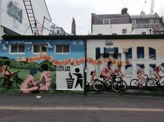 New mural in Providence Place, Brighton, UK celebrating the annual Brighton Naked Bike Ride. 2014 event takes place on Sun 8 June.