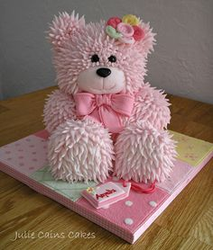 Julie Cains Cakes … Julie Cain's Cakes Plus Pretty Cakes, Cute Cakes, Beautiful Cakes, Amazing Cakes, Bolo Barbie, Teddy Bear Cakes, Animal Cakes, Novelty Cakes, Girl Cakes